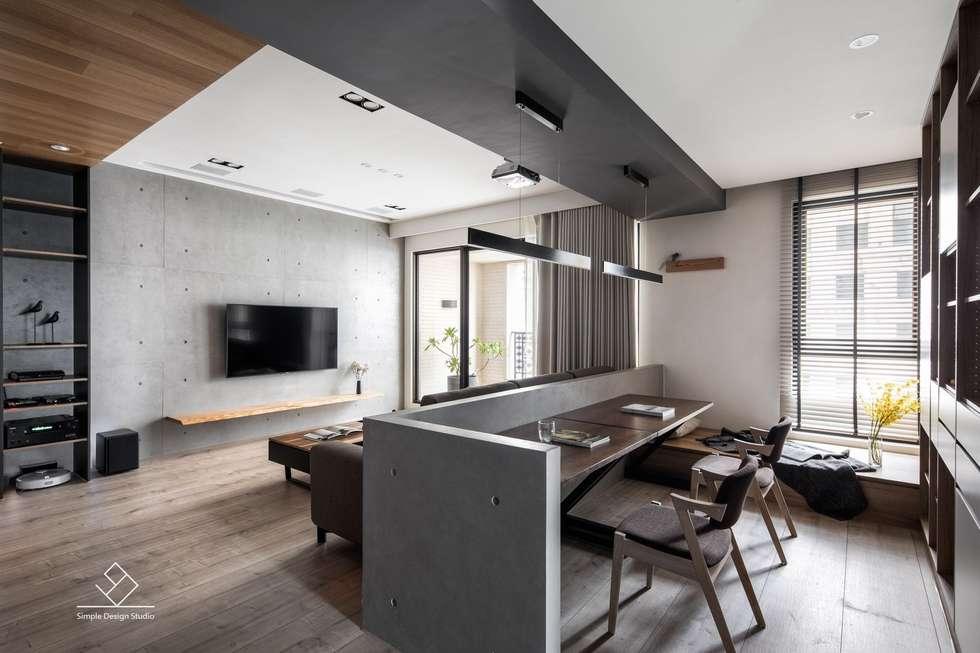 客廳與書房:  書房/辦公室 by 極簡室內設計