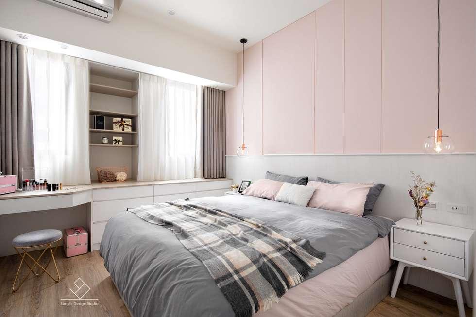 主臥室設計:  臥室 by 極簡室內設計