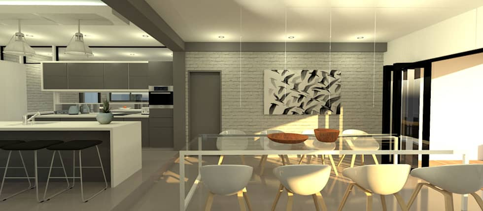 Open plan dining room: modern Dining room by A4AC Architects