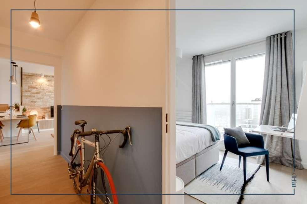 Un 63m2 en VEFA twisté à Paris: Couloir et hall d'entrée de style  par MY HOME DESIGN