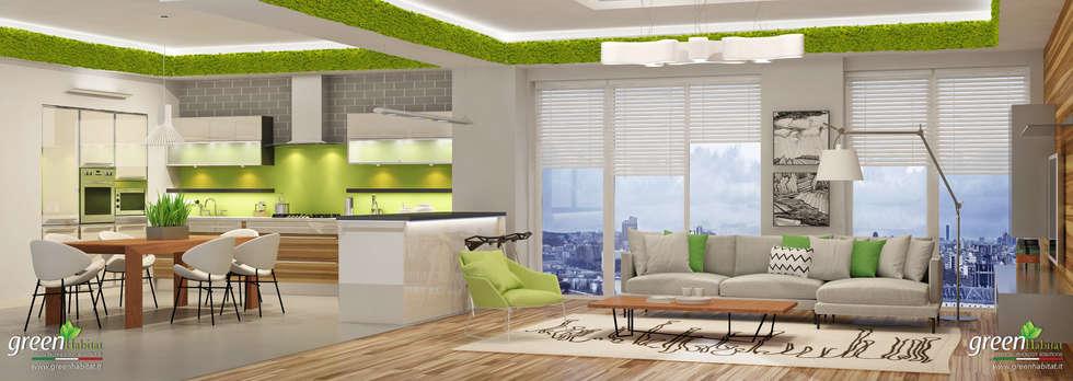 Casa moderna; cucina & salotto open space: soggiorno in stile in ...