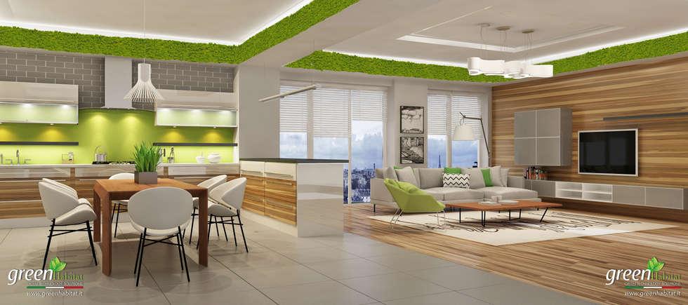 Casa moderna cucina salotto open space cucina in stile in stile industriale di green habitat - Cucina salotto open space ...