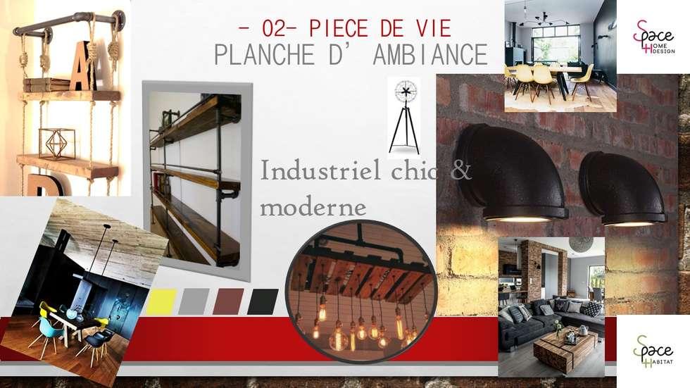 PLANCHE TENDANCE INDUSTRIELLE PIECE DE VIE: Salle à manger de style de style Industriel par S'PACE HABITAT / S'PACE HOME DESIGN