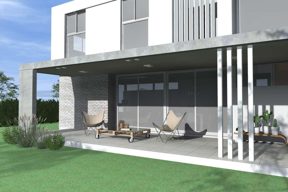 Galería semicubierta: Casas unifamiliares de estilo  por Arquitectura Bur Zurita