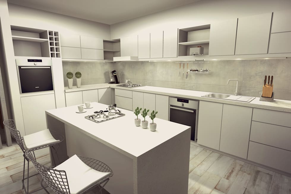 Cocina comedor diario: Cocinas a medida  de estilo  por Arquitectura Bur Zurita