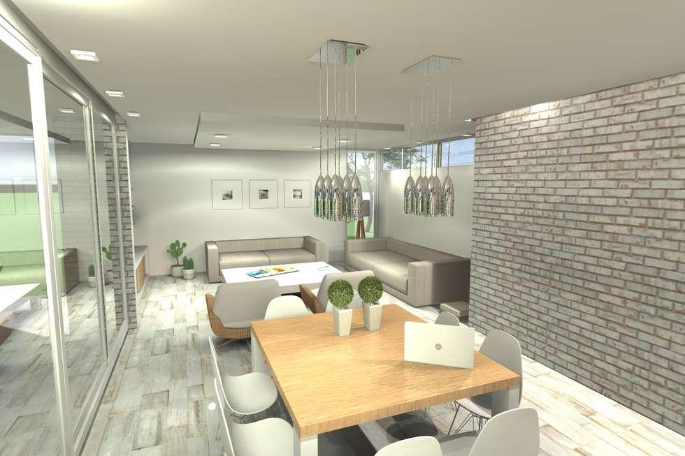 Comedor principal: Livings de estilo moderno por Arquitectura Bur Zurita