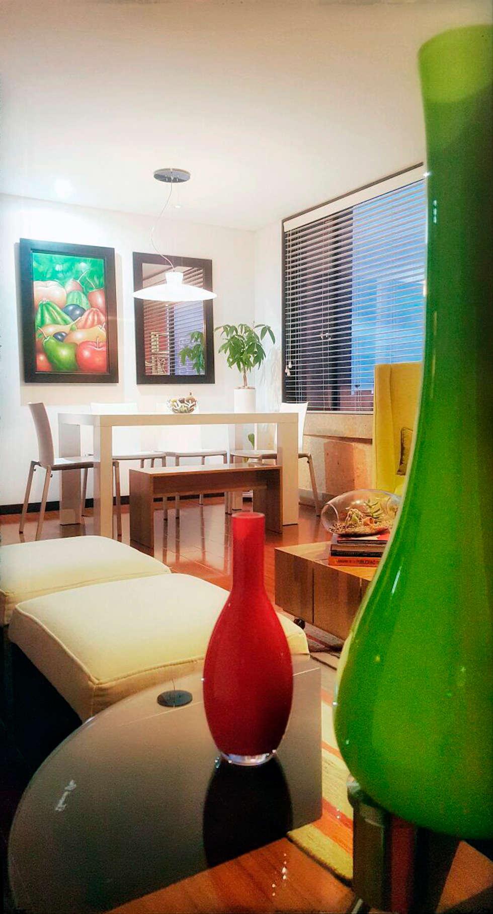 sala comedor: Comedores de estilo moderno por Omar Plazas Empresa de  Diseño Interior, remodelacion, Cocinas integrales, Decoración
