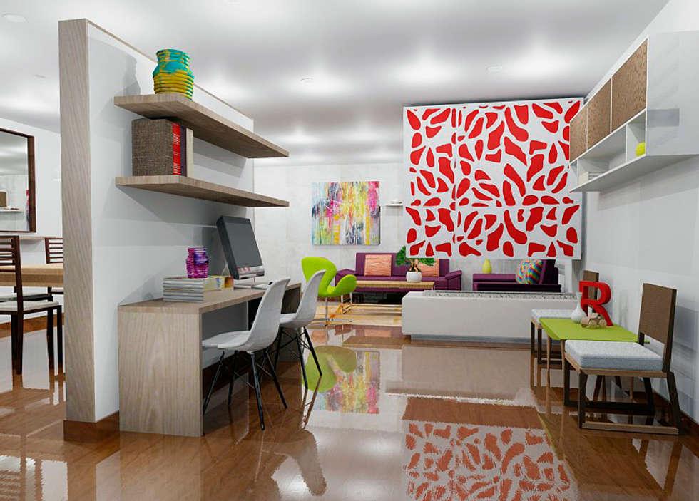 Estudio moderno: Estudios y despachos de estilo moderno por Omar Plazas Empresa de  Diseño Interior, remodelacion, Cocinas integrales, Decoración