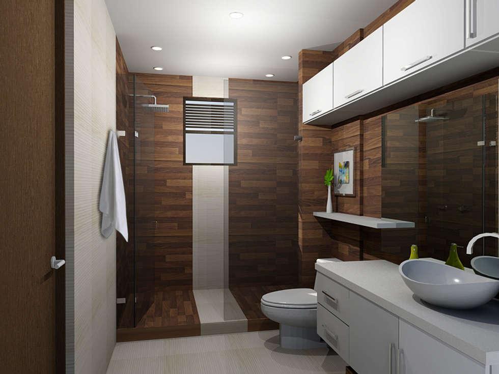propuesta de baño: Baños de estilo moderno por Omar Plazas Empresa de  Diseño Interior, remodelacion, Cocinas integrales, Decoración