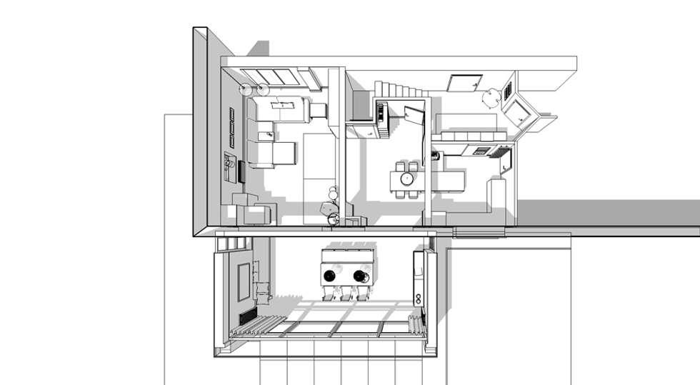 Wohnzimmer mit kamin und küche – grundriss 3d: von studio meuleneers ...