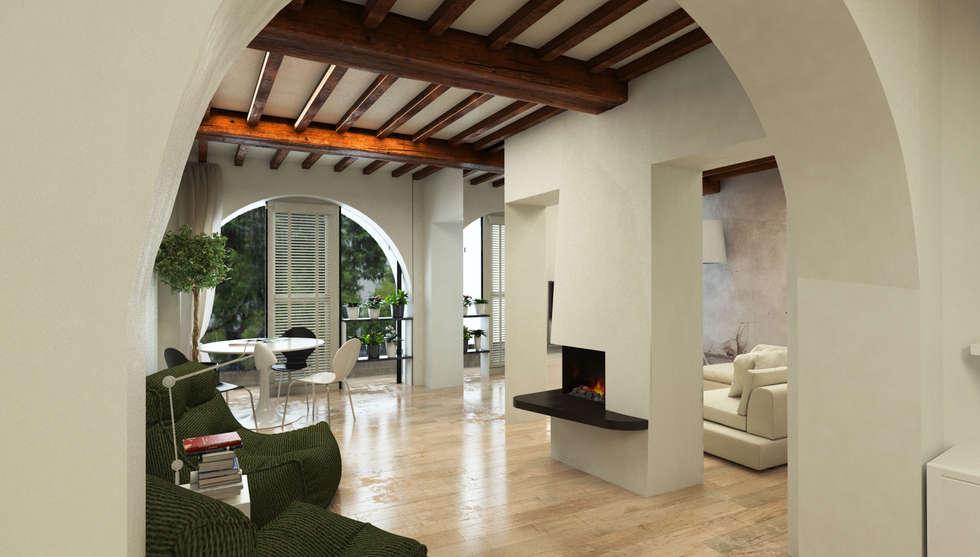 Area Leaving con camino elettrico - Casa in Via San Martino - Pisa: Soggiorno in stile in stile Moderno di Studio Bennardi - Architettura & Design
