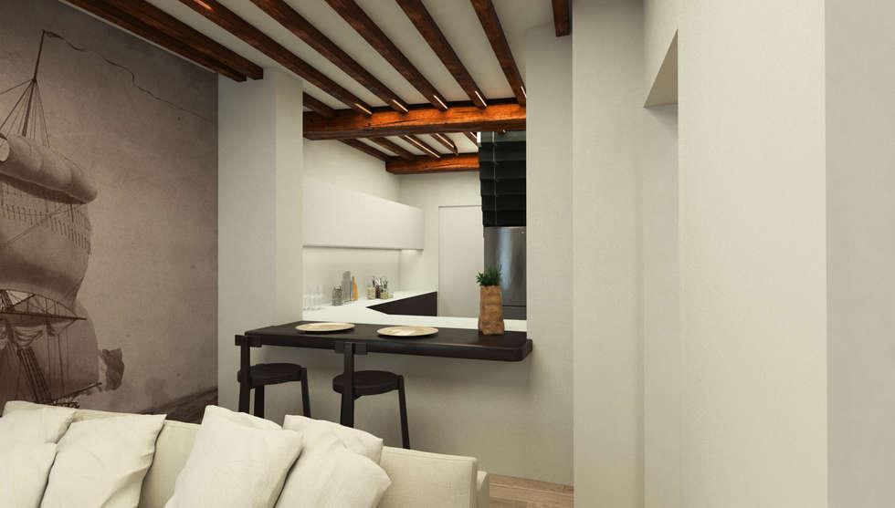 spazio bar, cucina a vista - Casa in Via San Martino - Pisa: Soggiorno in stile in stile Moderno di Studio Bennardi - Architettura & Design