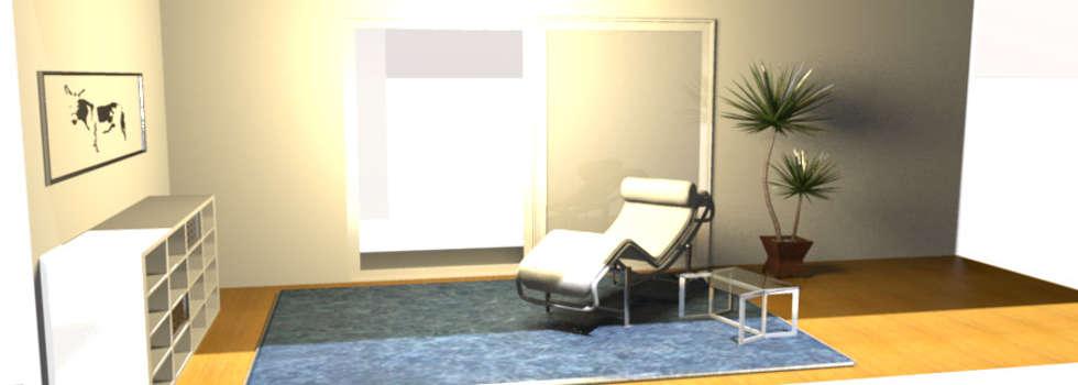 Rincón para relajarse: Salas / recibidores de estilo minimalista por Minimalistika.com