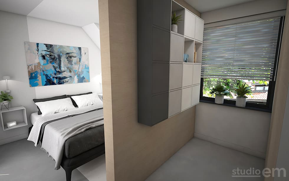 Kleine Minimalistische Slaapkamer : Interieurontwerp 3d impressie slaapkamer met inloopkast