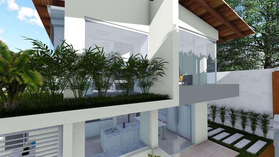 Fachada posterior: Casas de estilo moderno por Vida Arquitectura