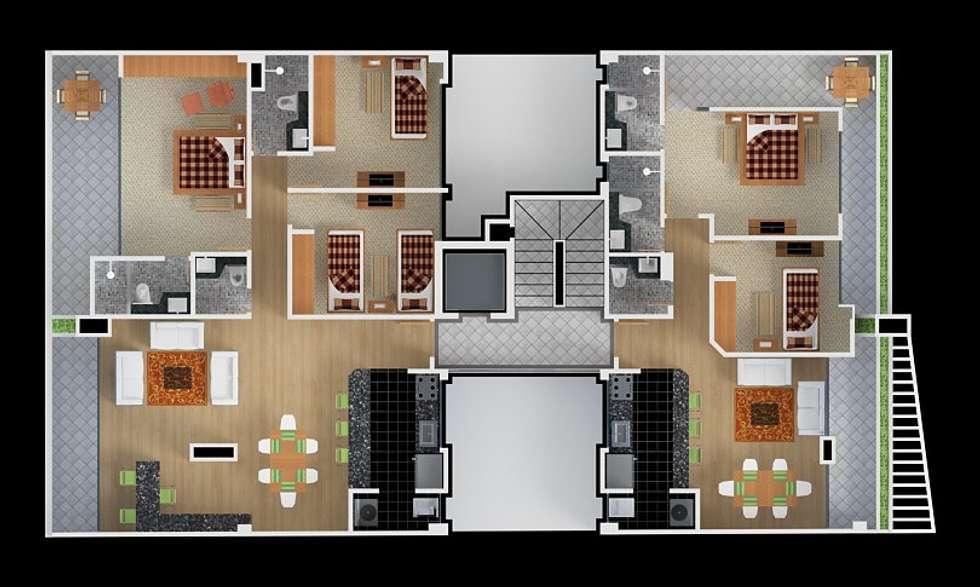 Planta pent houses: Habitaciones de estilo moderno por MSA Arquitectos