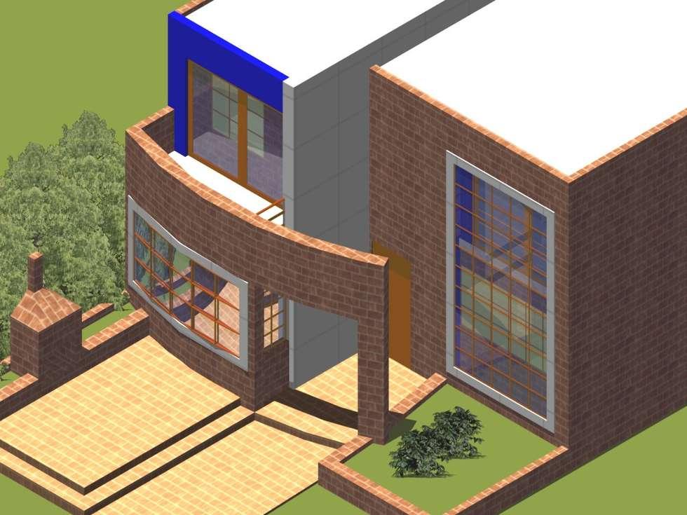 Axonometría fachada principal: Casas de estilo moderno por MSA Arquitectos