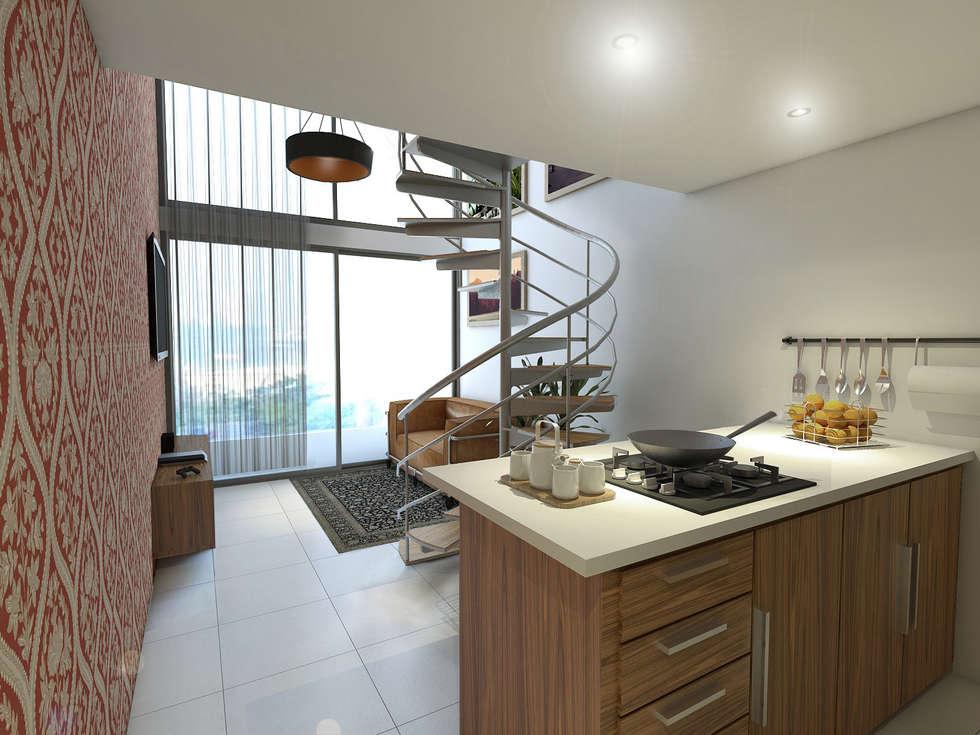 Vista Cocina / Sala: Cocinas integrales de estilo  por Gliptica Design