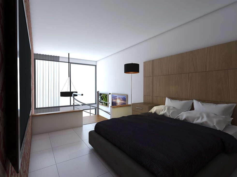 Vista Alcoba: Habitaciones de estilo moderno por Gliptica Design