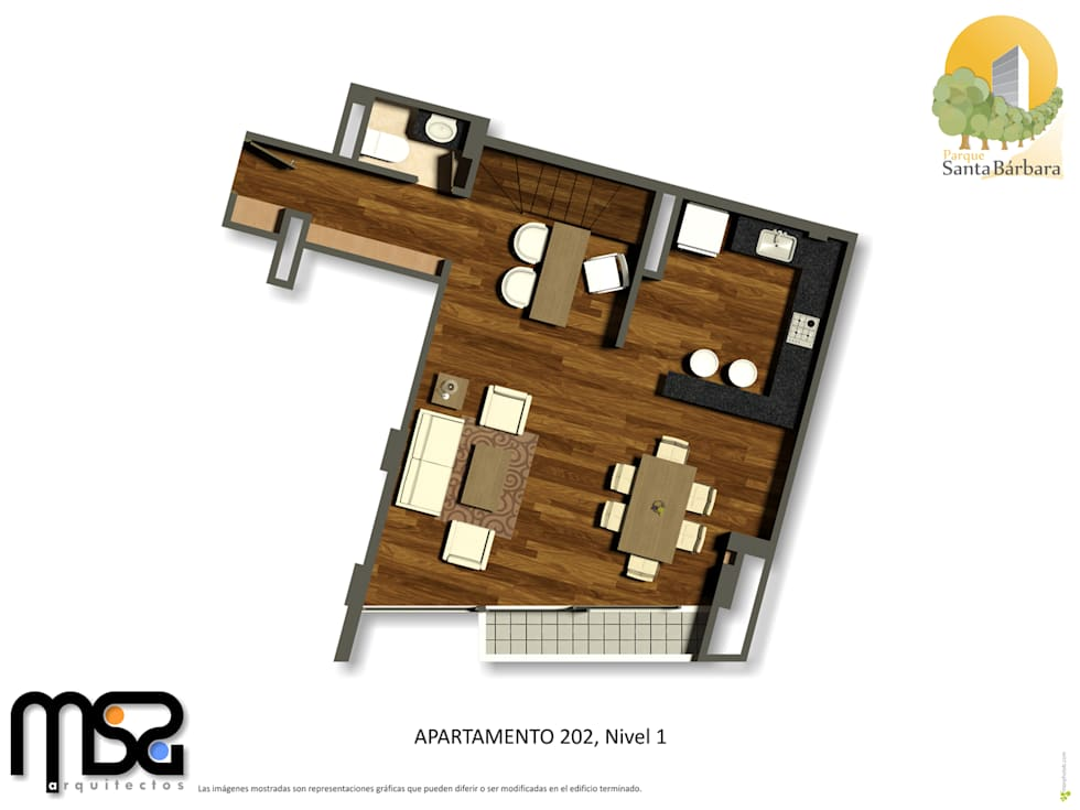 Apartamento tipo 3, dúplex, planta baja: Casas de estilo moderno por MSA Arquitectos