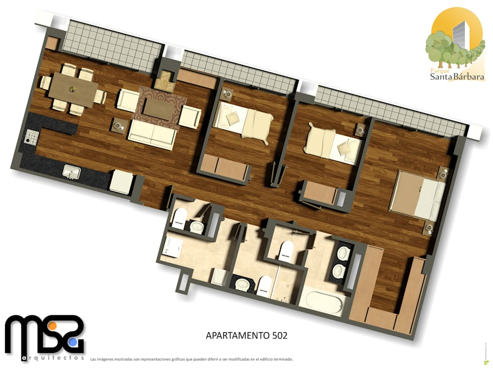 Penthouse 2: Casas de estilo moderno por MSA Arquitectos