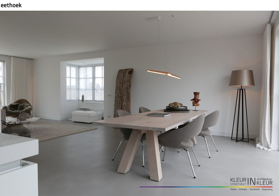 Minimalistisch interieur: minimalistische woonkamer door