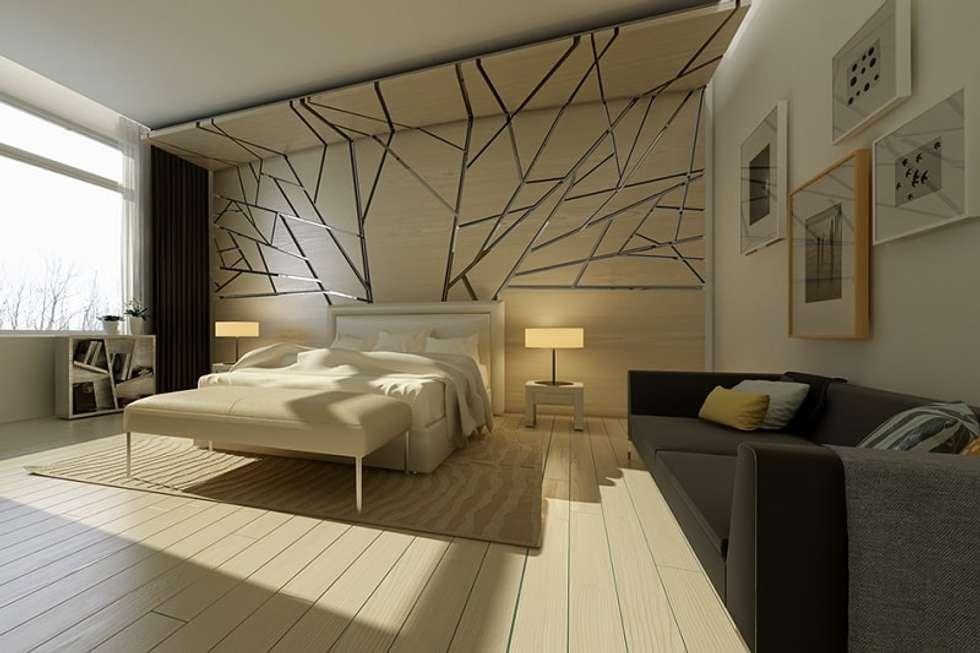 Phòng ngủ thiết kế với bức tường giả kính vỡ:  Phòng ngủ by Thương hiệu Nội Thất Hoàn Mỹ