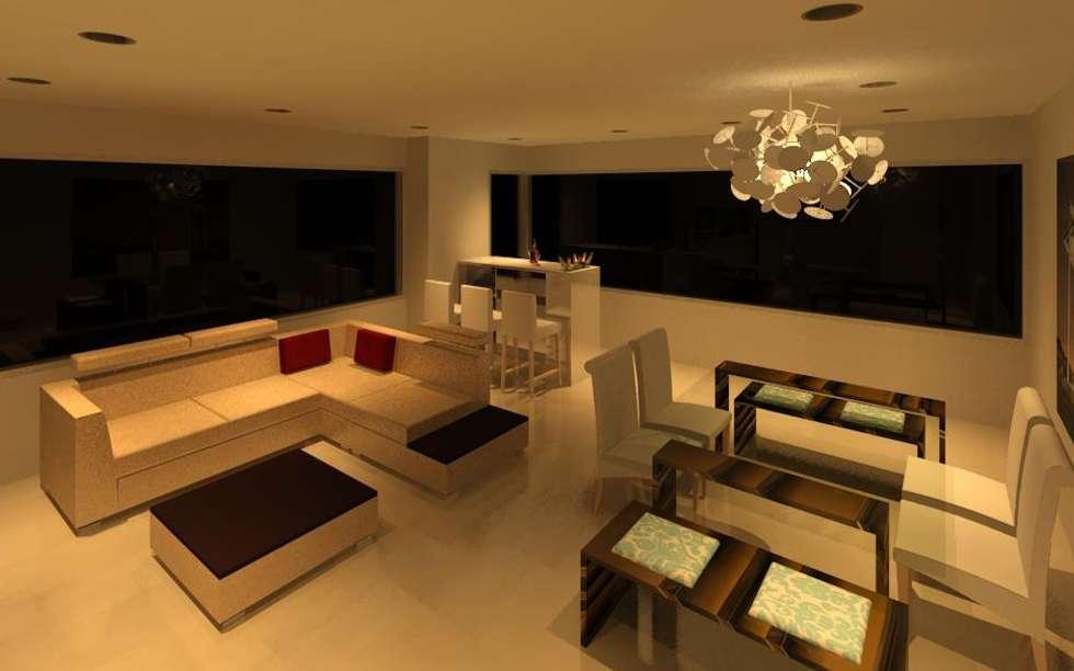 SALA COMEDOR: Salas / recibidores de estilo moderno por ESTUDIO KULUMAK