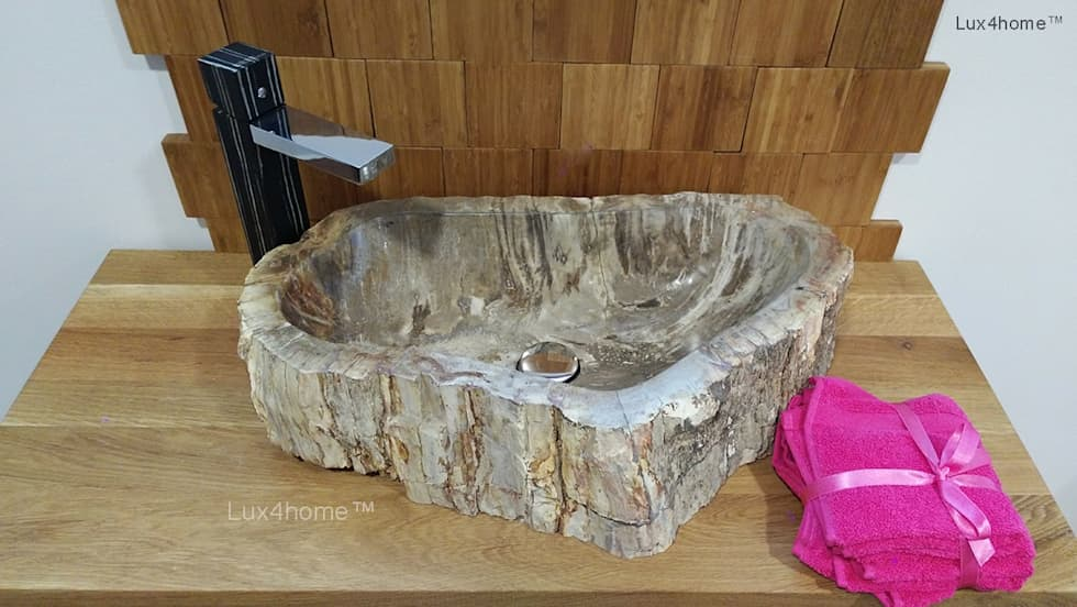 petrified wood wash basin: country Bathroom by Lux4home™ Indonesia