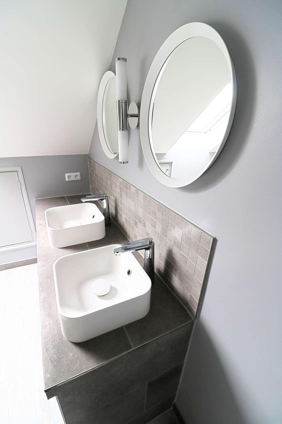 salle de bains Draveil: Salle de bains de style  par Anne Lapointe Chila