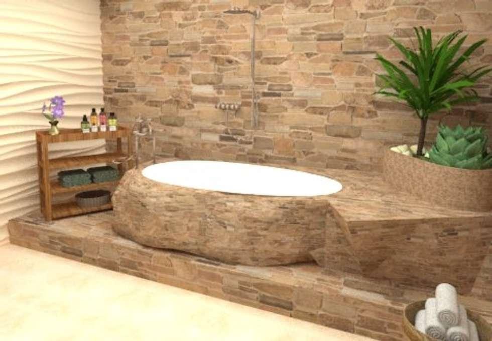 Modelado 3D: Baños de estilo rústico por Estudio Carmesí. Diseño y Decoración