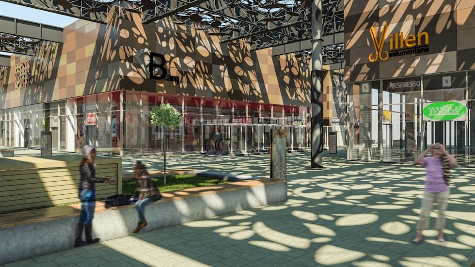 Camara 13 - Patio articulador: Shoppings y centros comerciales de estilo  por DUSINSKY S.A.