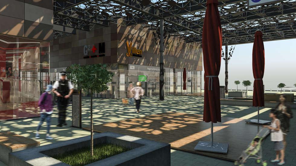 Camara 14 - Patio articulador: Shoppings y centros comerciales de estilo  por DUSINSKY S.A.