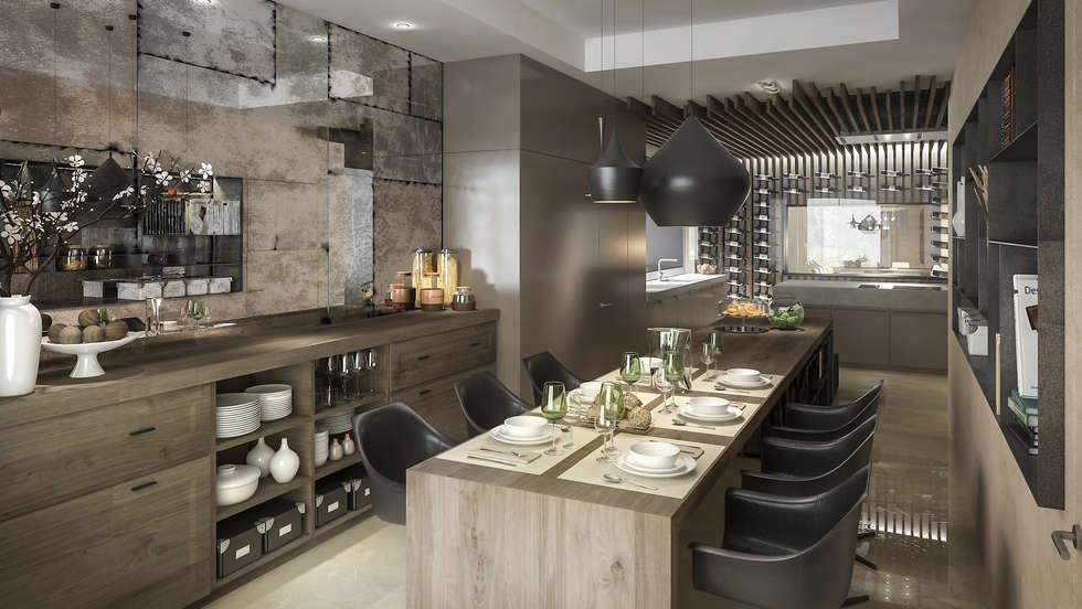 Cocina Comedor: Cocinas a medida  de estilo  por MADBA design & architecture