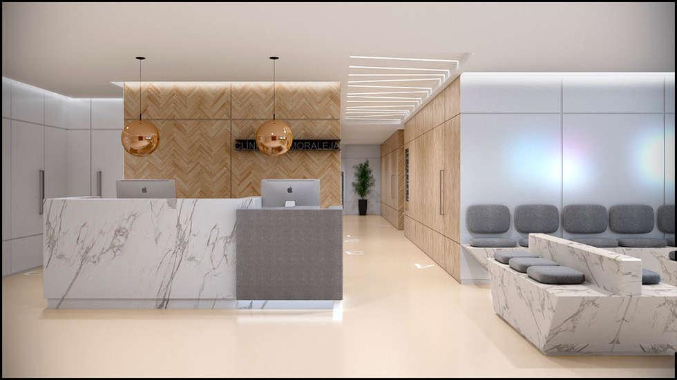 Recepción Centro Médico: Clínicas y consultorios médicos de estilo  por MADBA design & architecture
