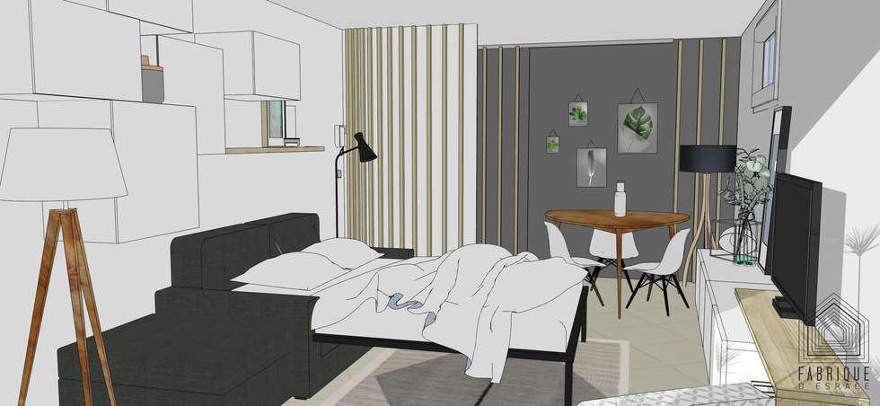 Entrée // Paroie séparative // Appartement La Garenne-Colombes: Salon de style de style Moderne par FABRIQUE D'ESPACE