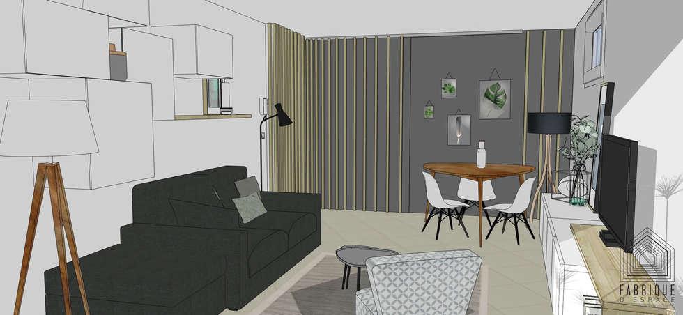 Couloir // cloison coulissante // Appartement La Garenne-Colombes: Couloir et hall d'entrée de style  par FABRIQUE D'ESPACE