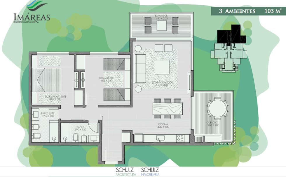 3 ambientes: Hoteles de estilo  por Estudio Schulz