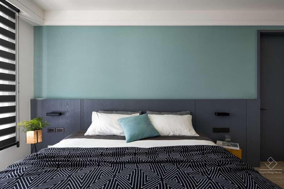 主臥床頭櫃:  牆面 by 極簡室內設計