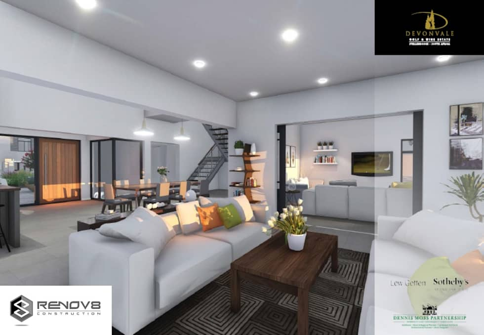Artists Rendering of Finishes and Interior Design: modern Living room by Renov8 CONSTRUCTION