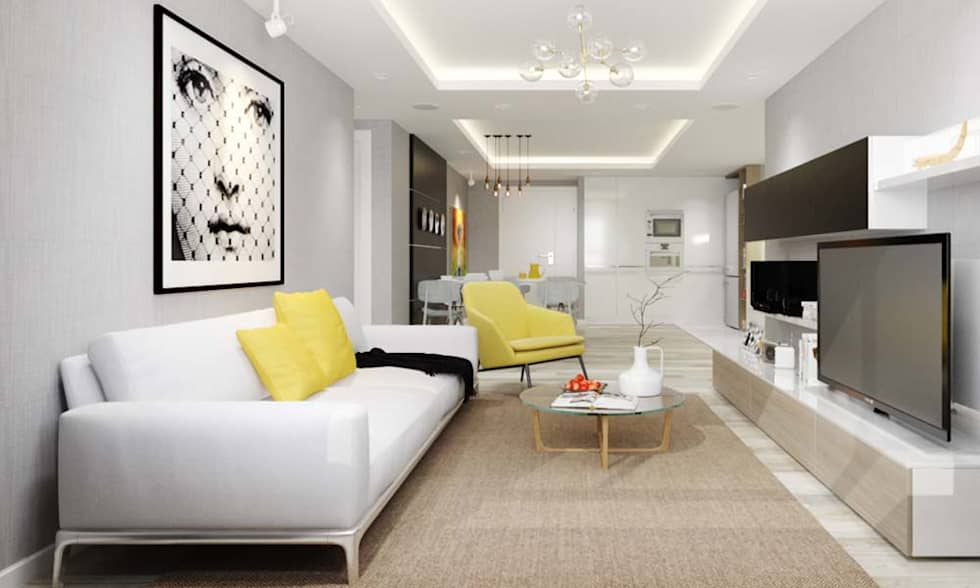 thiết kế Căn hộ sang trọng, thiết kế nội thất hiện đại, tinh tế.:  Phòng khách by CÔNG TY THIẾT KẾ NHÀ ĐẸP SANG TRỌNG