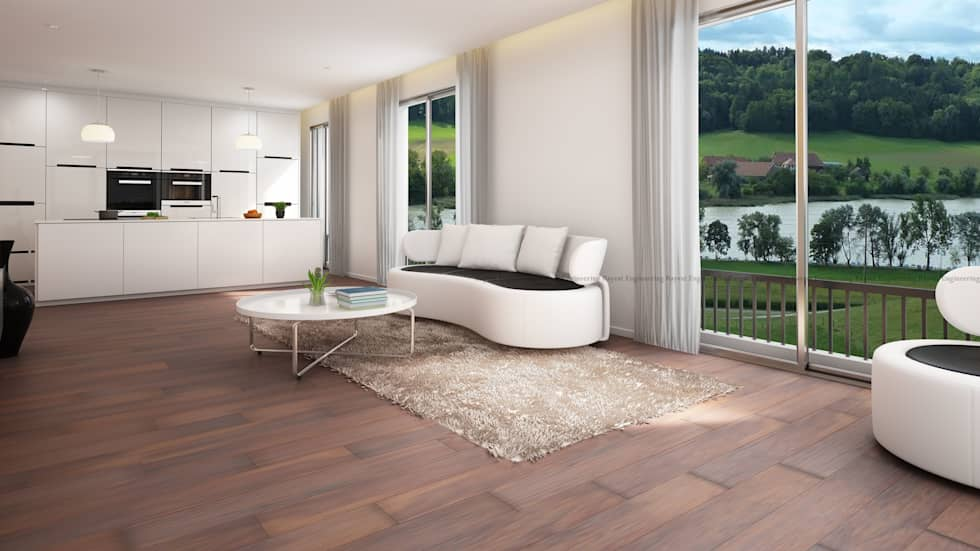 Riverside Kitchen Cum Living Room View: classic Bedroom by Rayvat Rendering Studio