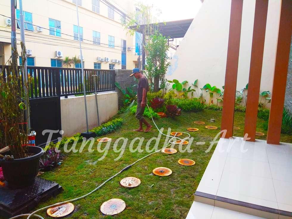Finishing pemasangan taman:  Kantor & toko by Tukang Taman Surabaya - Tianggadha-art