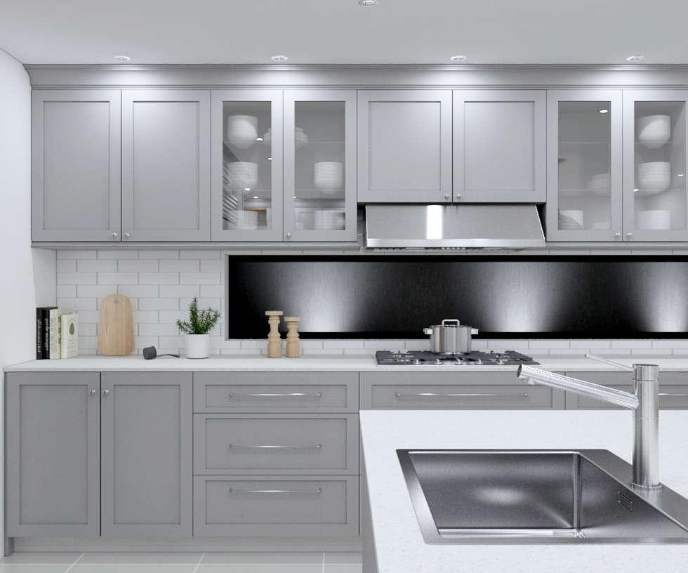 SANDTON KITCHEN - Grey cabinets :  Built-in kitchens by Linken Designs
