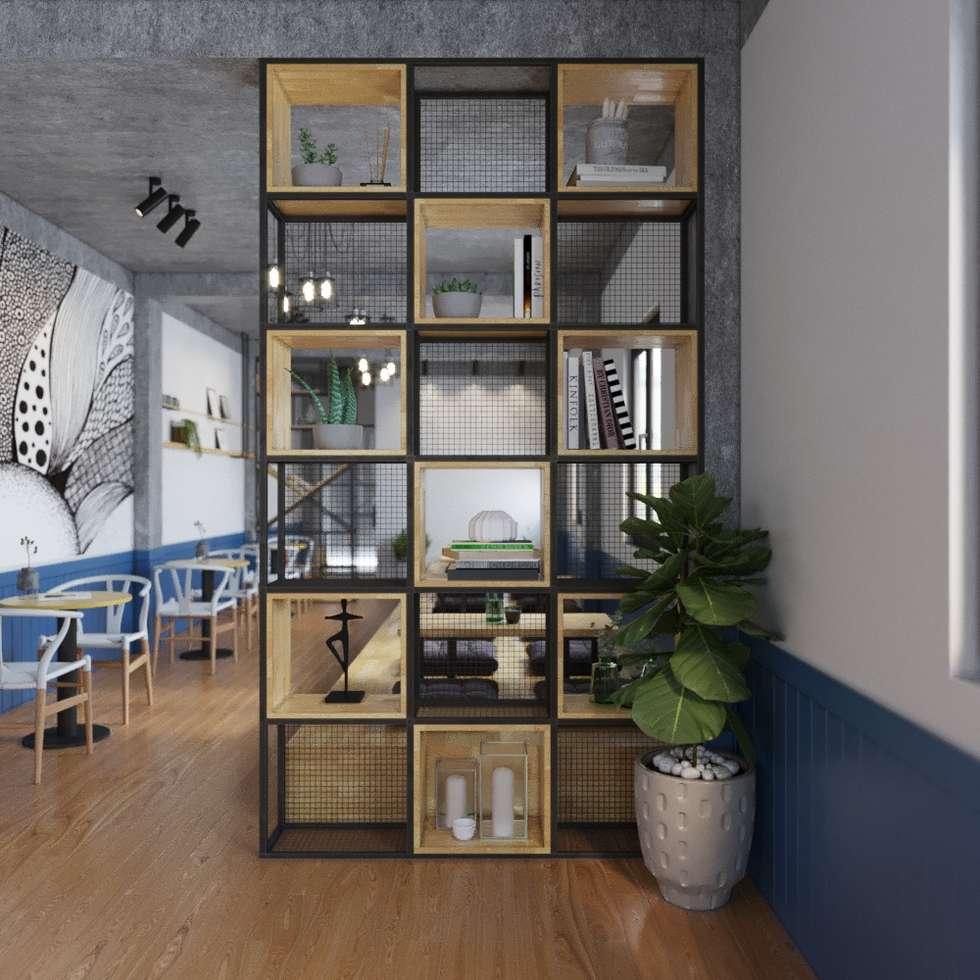 Kệ trang trí ô vuông khung sắt:  Phòng khách by Home Office