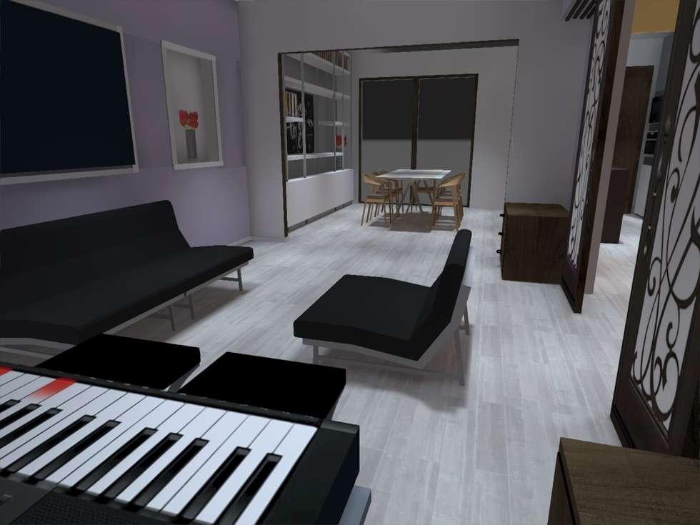 vista living: Livings de estilo minimalista por ATELIER3