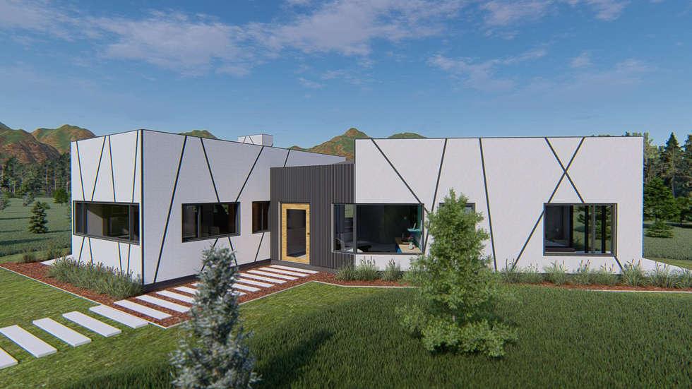 Vista puerta principal: Casas unifamiliares de estilo  por Tila Design