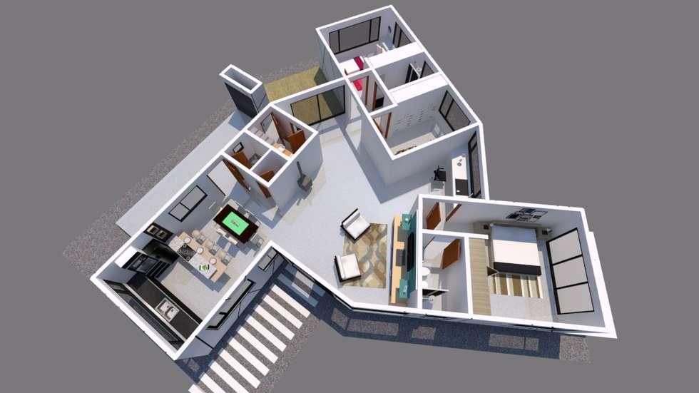 Plano de planta: Pasillos y recibidores de estilo  por Tila Design