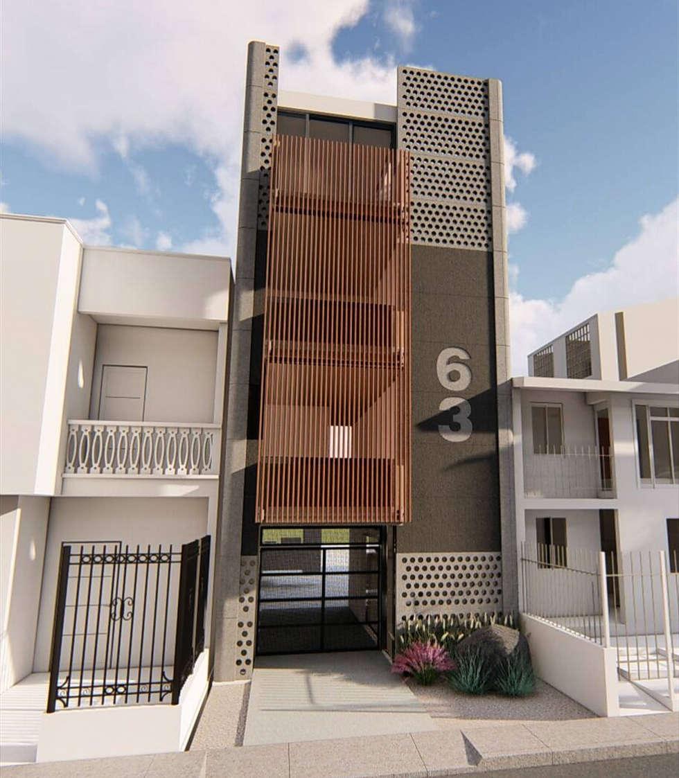 Casa k63: Casas unifamiliares de estilo  por Mimesis Arquitectura y diseño