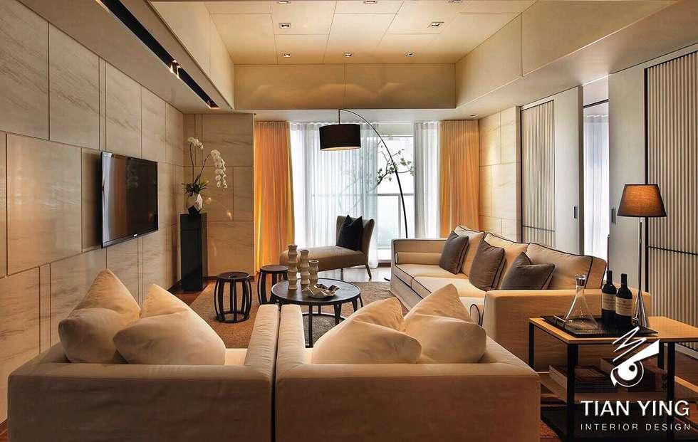 住宅空間設計-公共領域/客廳:  客廳 by 天英設計工程